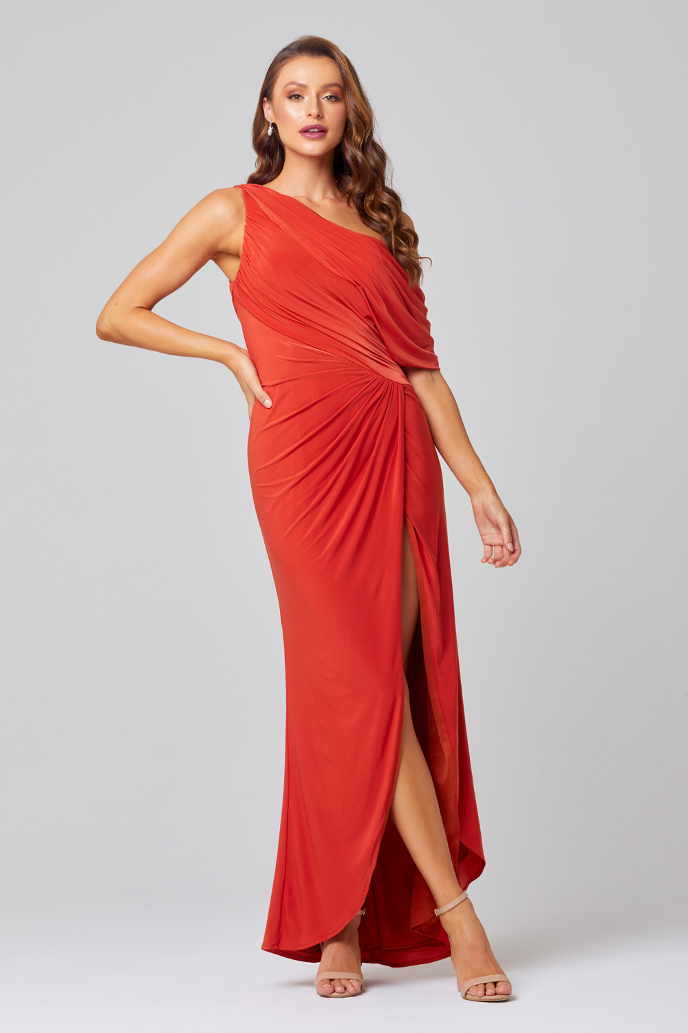 Polly One Shoulder Bridesmaid Dress – TO846 Front Side