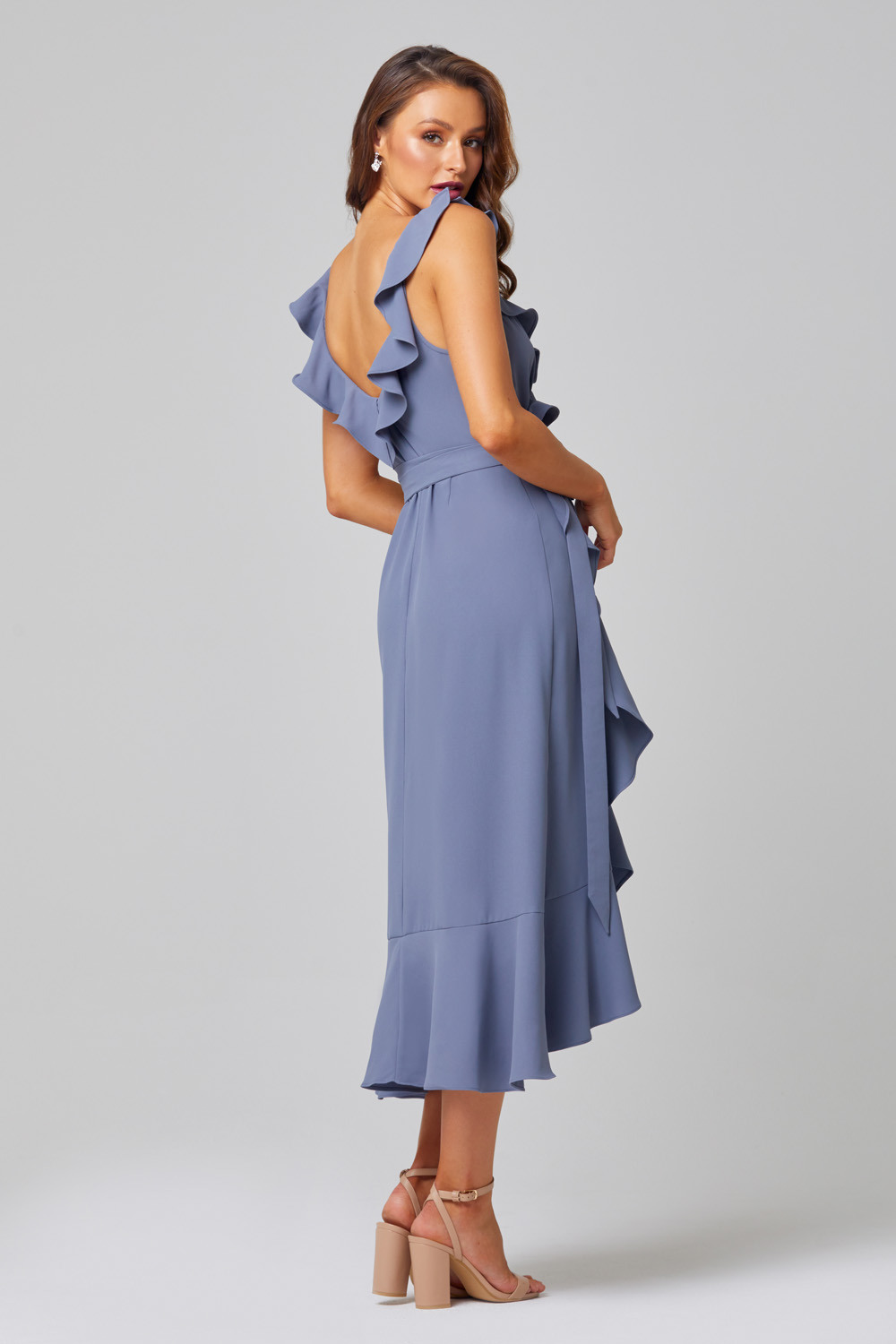 Thea Self-Tie Midi Bridesmaid Dress - TO855 back