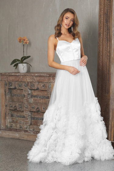 Abby A-line Evening Gown - PO847 white