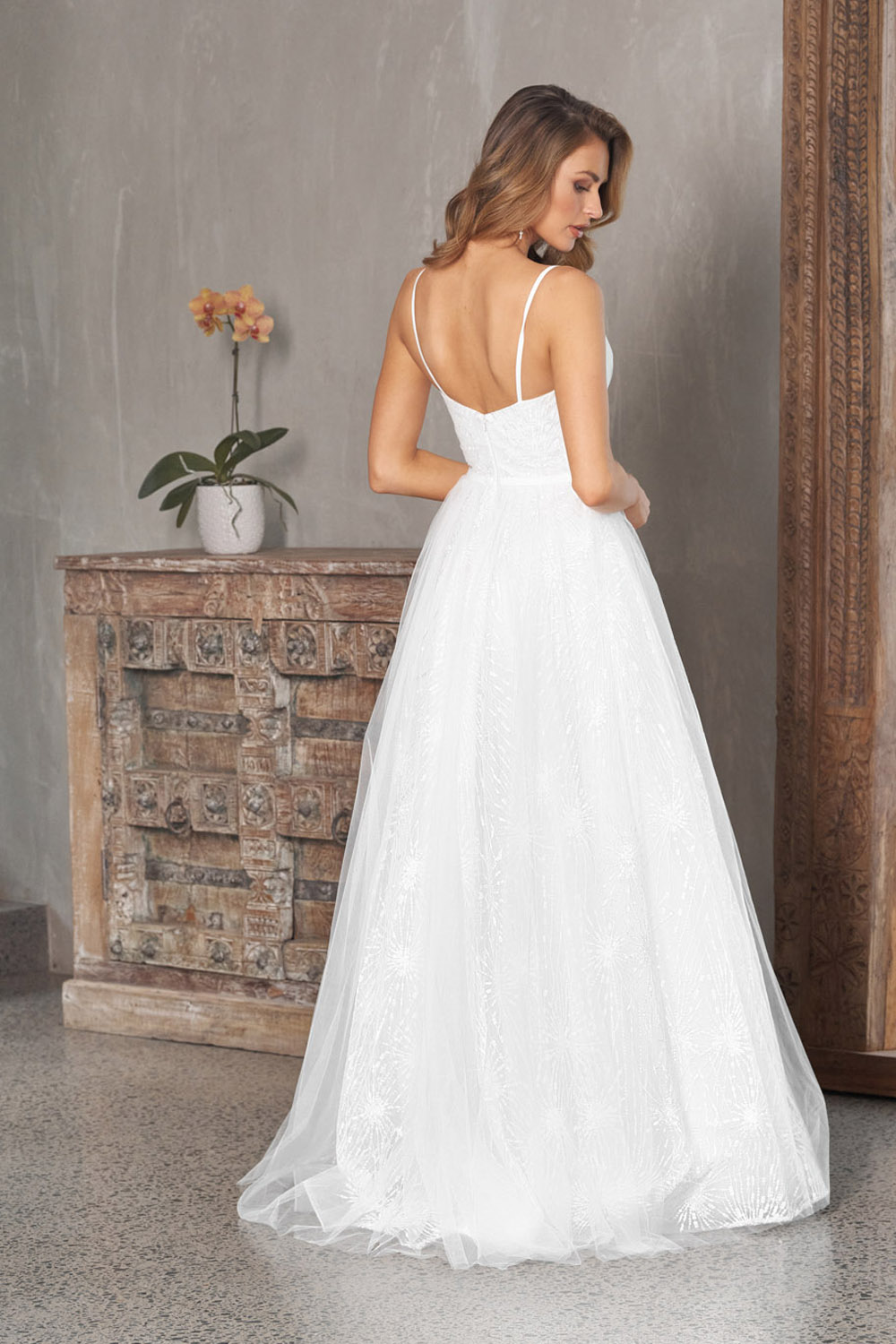 Belle Embroidered Tulle Wedding Dress - TC309 back