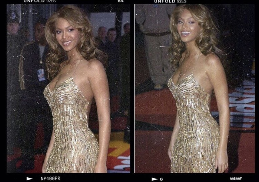 Beyonce gold sequin evening dress 90s