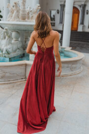PO891 Monroe formal dress in red back angle