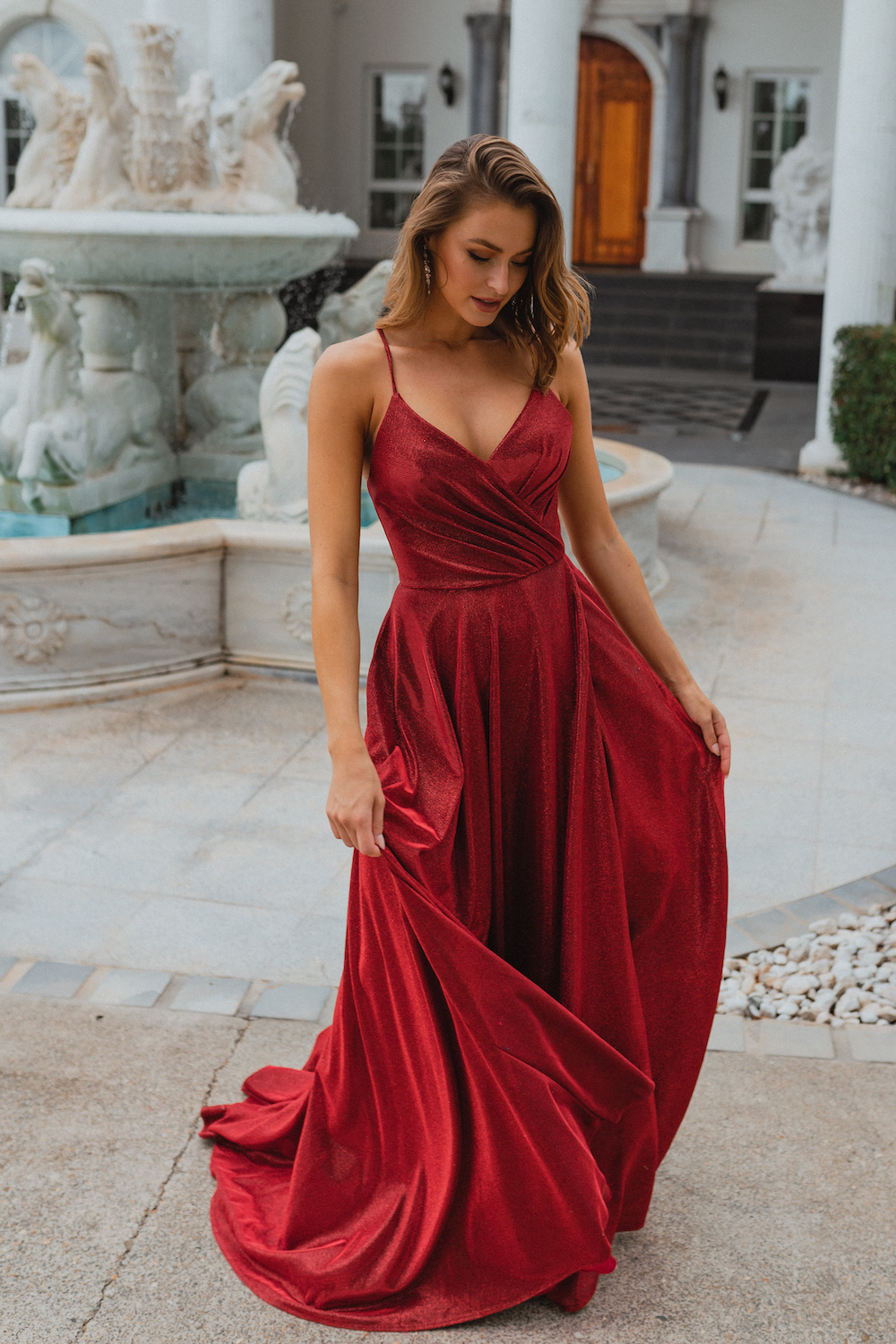 PO891 Monroe formal dress in red front angle