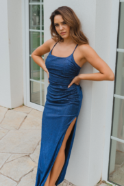 PO892 austin ruched formal dress (navy front)