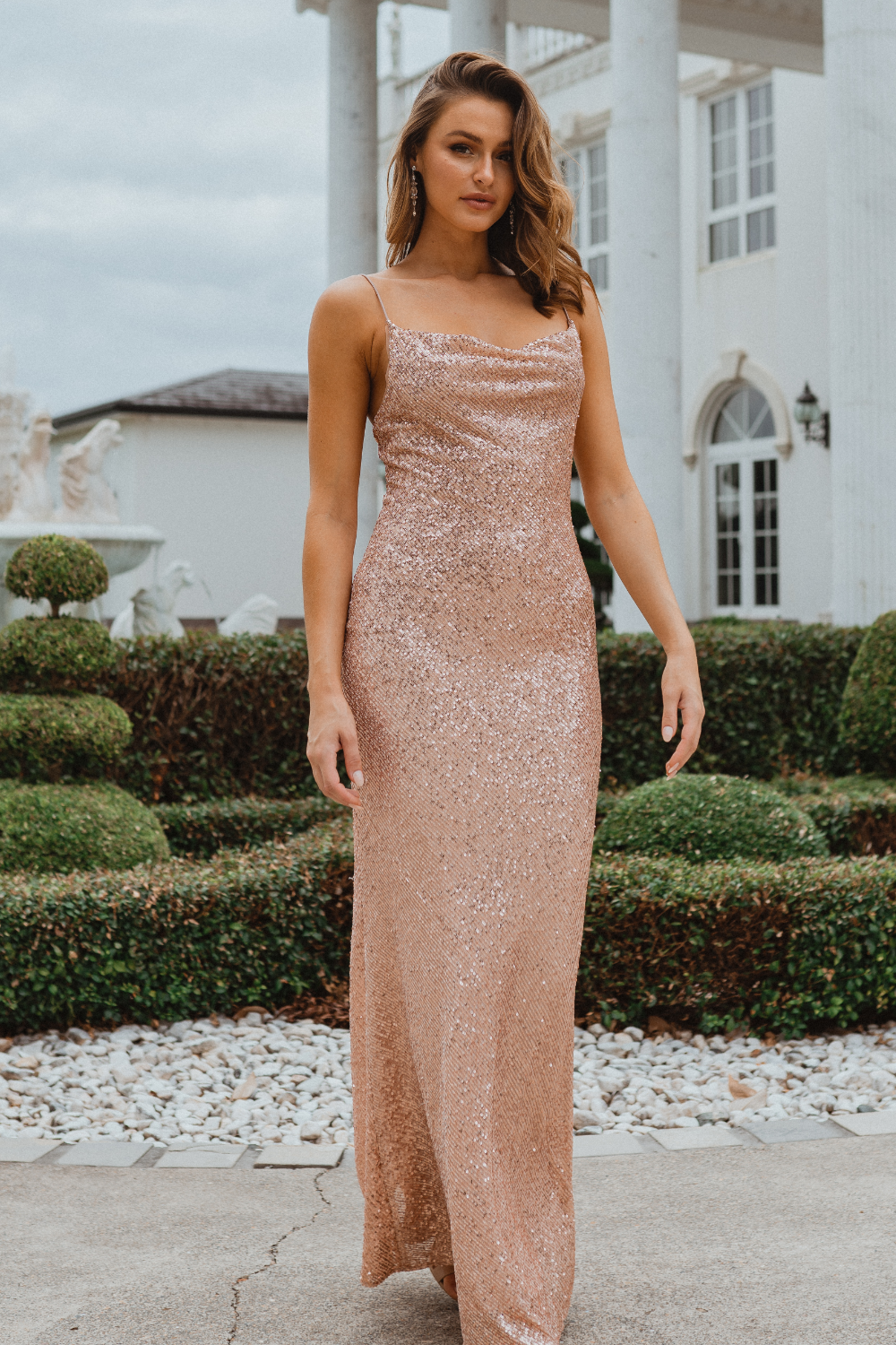 TO860 Sydney bridesmaid dress rose gold (front angle)
