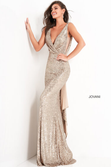 Jovani 03854 gold sequin front