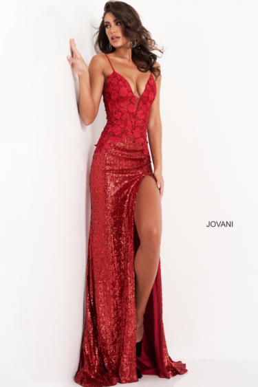 Jovani 06426 formal dress red front