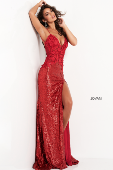 Jovani 06426 formal dress red side